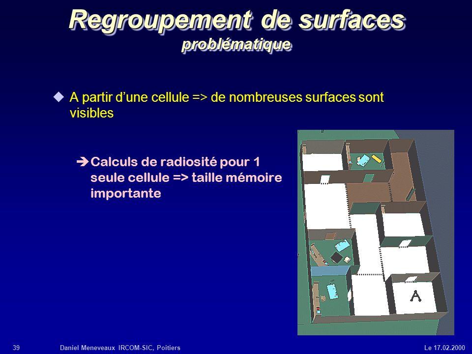 39Daniel Meneveaux IRCOM-SIC, Poitiers Le 17.02.2000 Regroupement de surfaces problématique uA partir dune cellule => de nombreuses surfaces sont visi