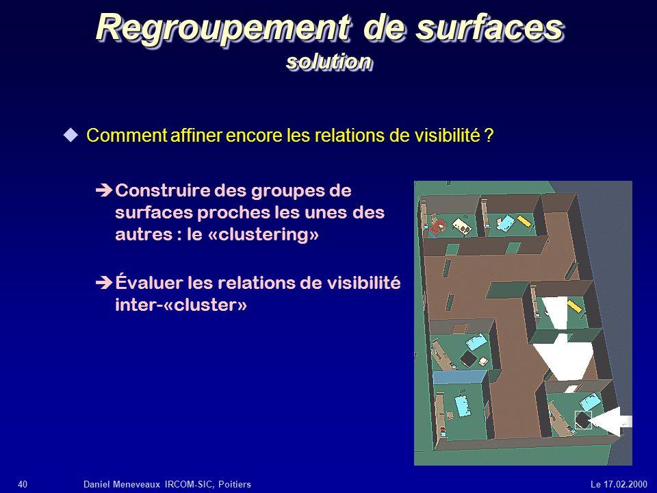 40Daniel Meneveaux IRCOM-SIC, Poitiers Le 17.02.2000 Regroupement de surfaces solution uComment affiner encore les relations de visibilité ? èConstrui