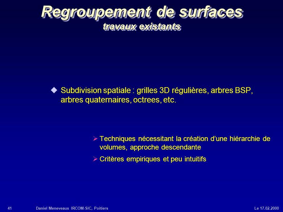 41Daniel Meneveaux IRCOM-SIC, Poitiers Le 17.02.2000 Regroupement de surfaces travaux existants uSubdivision spatiale : grilles 3D régulières, arbres