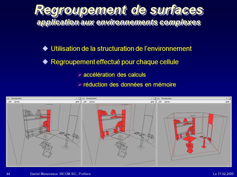 44Daniel Meneveaux IRCOM-SIC, Poitiers Le 17.02.2000 Regroupement de surfaces application aux environnements complexes uUtilisation de la structuratio