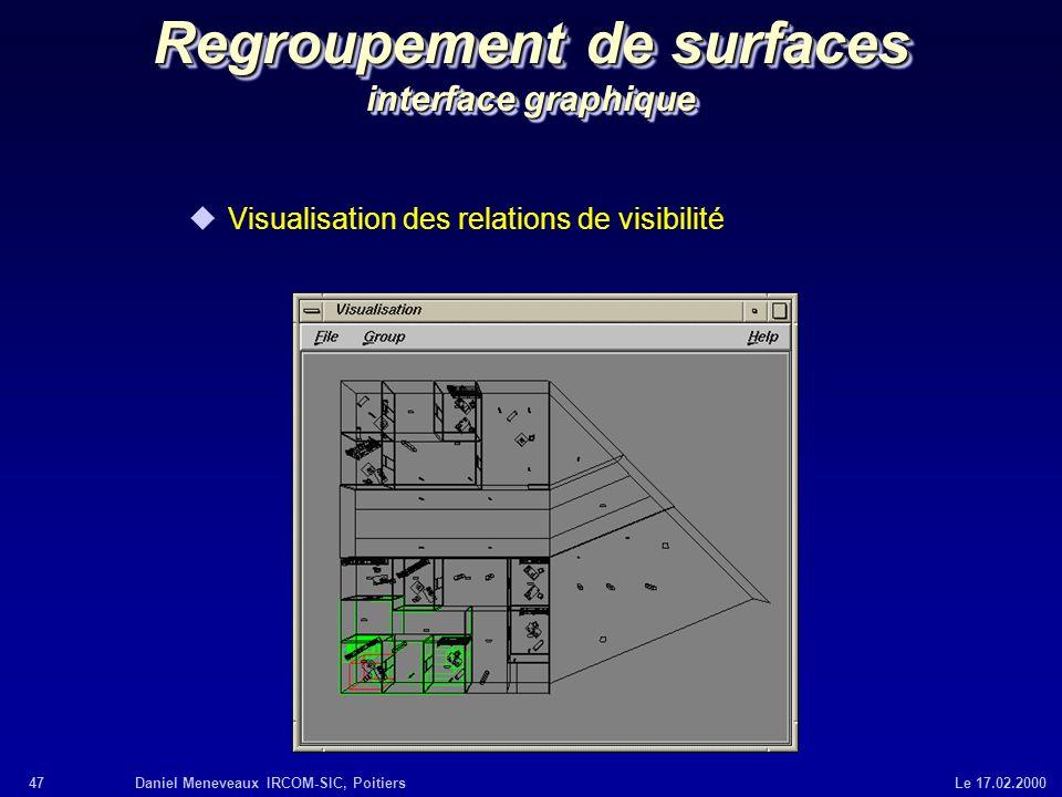 47Daniel Meneveaux IRCOM-SIC, Poitiers Le 17.02.2000 Regroupement de surfaces interface graphique uVisualisation des relations de visibilité