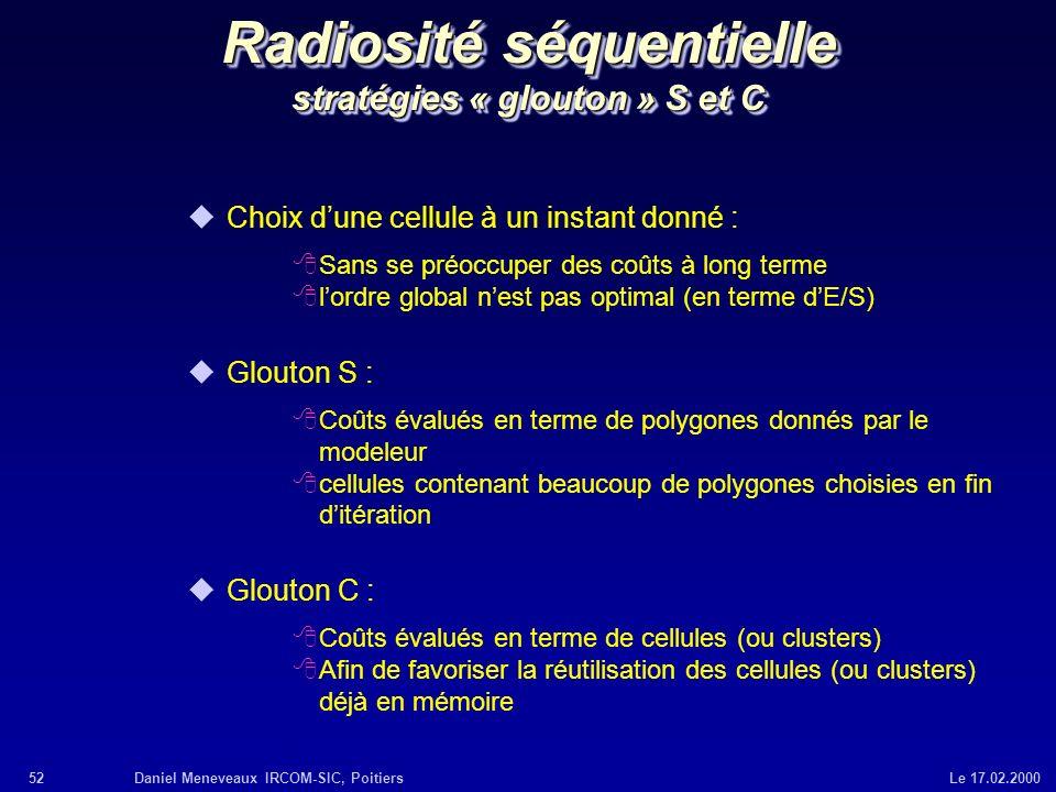 52Daniel Meneveaux IRCOM-SIC, Poitiers Le 17.02.2000 Radiosité séquentielle stratégies « glouton » S et C uChoix dune cellule à un instant donné : 8Sa