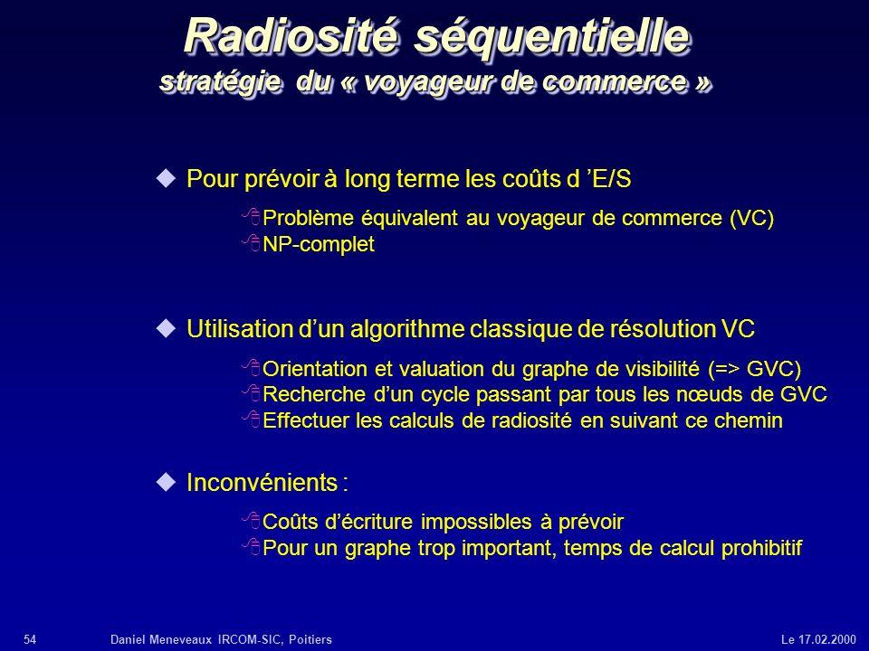 54Daniel Meneveaux IRCOM-SIC, Poitiers Le 17.02.2000 Radiosité séquentielle stratégie du « voyageur de commerce » uPour prévoir à long terme les coûts