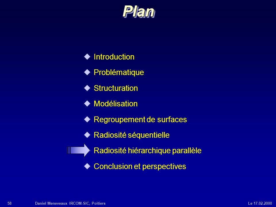 58Daniel Meneveaux IRCOM-SIC, Poitiers Le 17.02.2000 uIntroduction uProblématique uStructuration uModélisation uRegroupement de surfaces uRadiosité sé