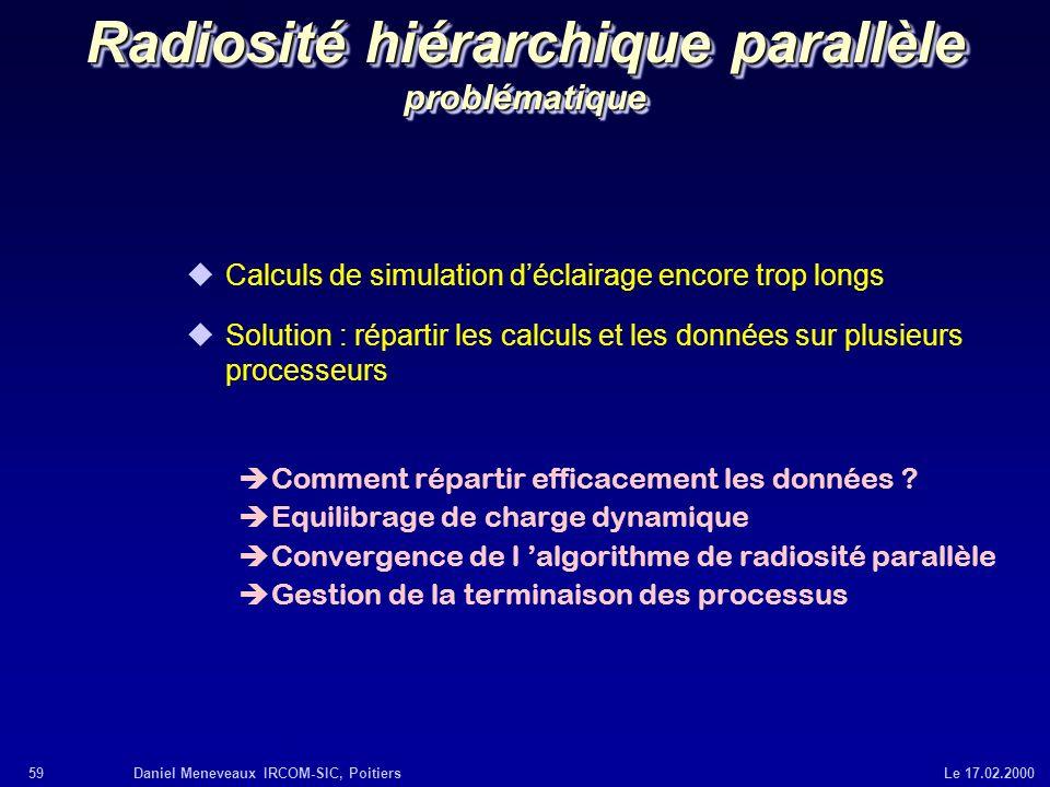 59Daniel Meneveaux IRCOM-SIC, Poitiers Le 17.02.2000 Radiosité hiérarchique parallèle problématique uCalculs de simulation déclairage encore trop long