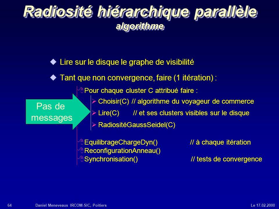 64Daniel Meneveaux IRCOM-SIC, Poitiers Le 17.02.2000 Radiosité hiérarchique parallèle algorithme uLire sur le disque le graphe de visibilité uTant que