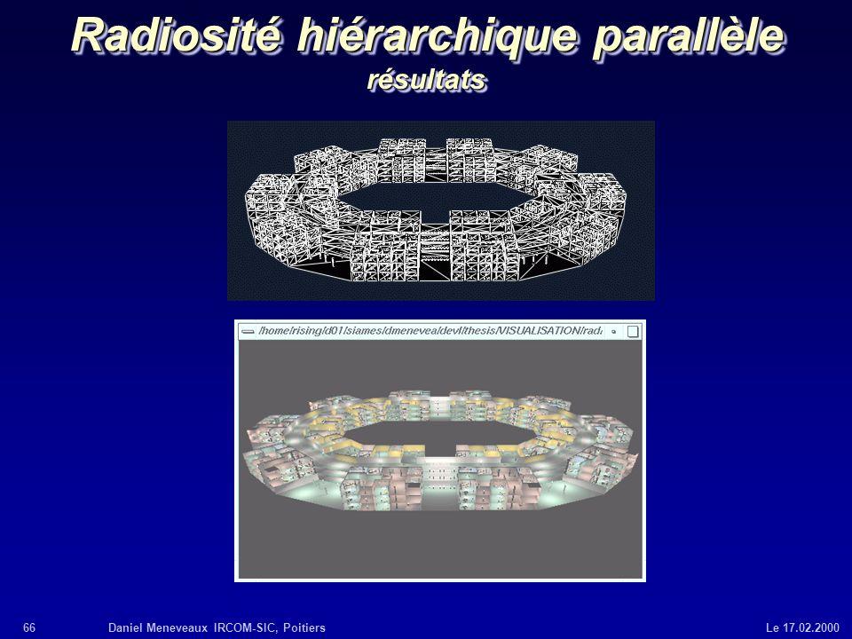66Daniel Meneveaux IRCOM-SIC, Poitiers Le 17.02.2000 Radiosité hiérarchique parallèle résultats