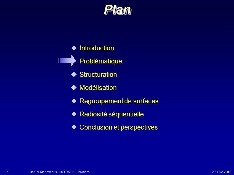 7Daniel Meneveaux IRCOM-SIC, Poitiers Le 17.02.2000 uIntroduction uProblématique uStructuration uModélisation uRegroupement de surfaces uRadiosité séq