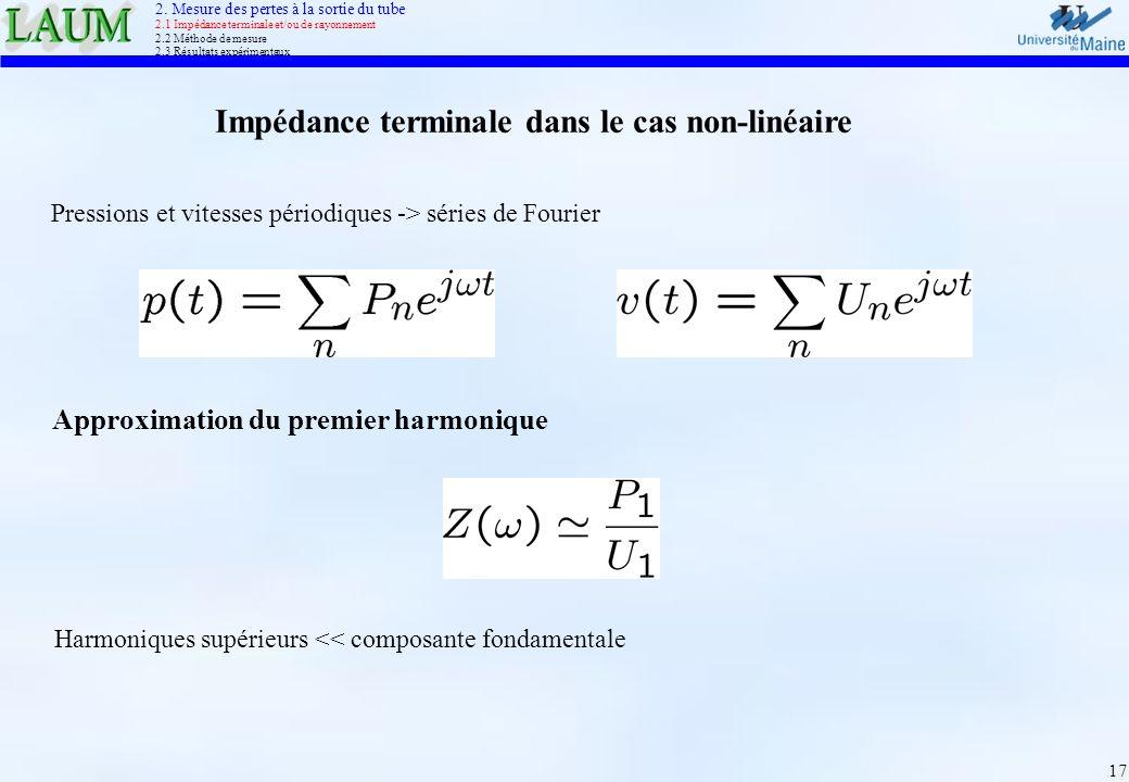 17 Impédance terminale dans le cas non-linéaire Harmoniques supérieurs << composante fondamentale Approximation du premier harmonique 2. Mesure des pe