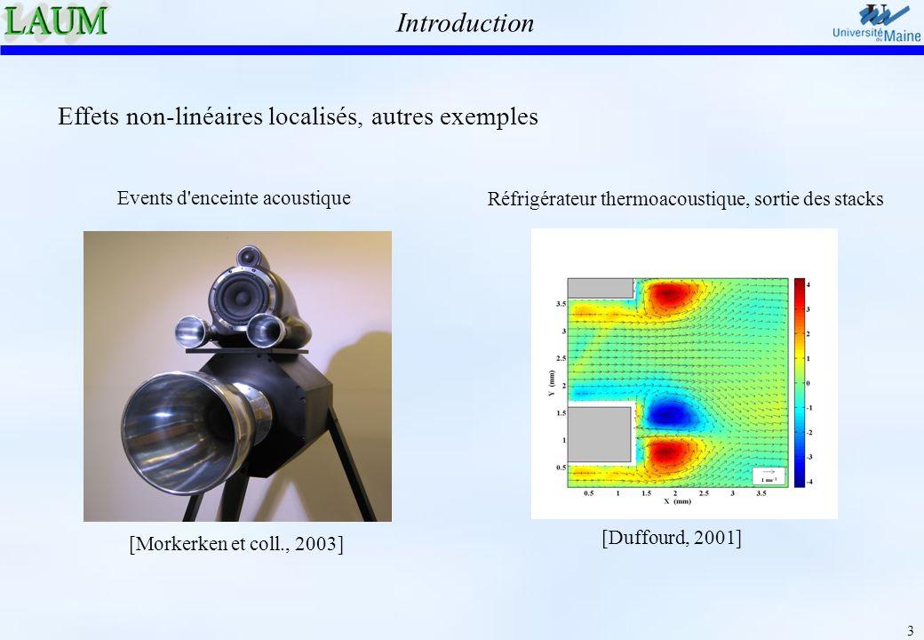 14 Résultats similaires aux expériences : influence de la géométrie Enveloppe du signal, résultats des simulations Enveloppe de p (en Pa) pression P m dans la bouche (en Pa) c d = 2.8 c d = 0.9 cdcd Embout 2.8Pointu 1.7r = 0 1.4r = 0.3 0.9r = 1 0.15r = 4 Synthèse des résultats Plage de jeu de l instrument contrôlée par les pertes non-linéaires (expérience – simulations) Clarinette muette 1.