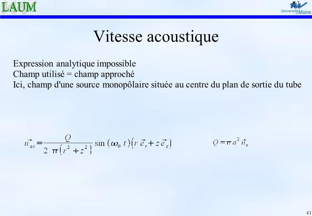 41 Vitesse acoustique Expression analytique impossible Champ utilisé = champ approché Ici, champ d'une source monopôlaire située au centre du plan de