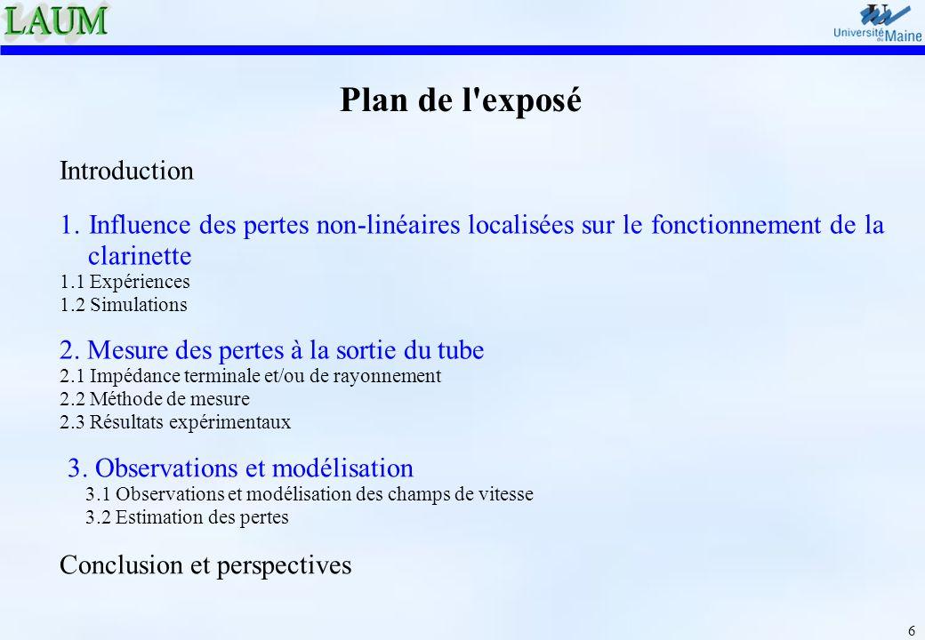 6 Plan de l'exposé Introduction 2. Mesure des pertes à la sortie du tube 2.1 Impédance terminale et/ou de rayonnement 2.2 Méthode de mesure 2.3 Résult