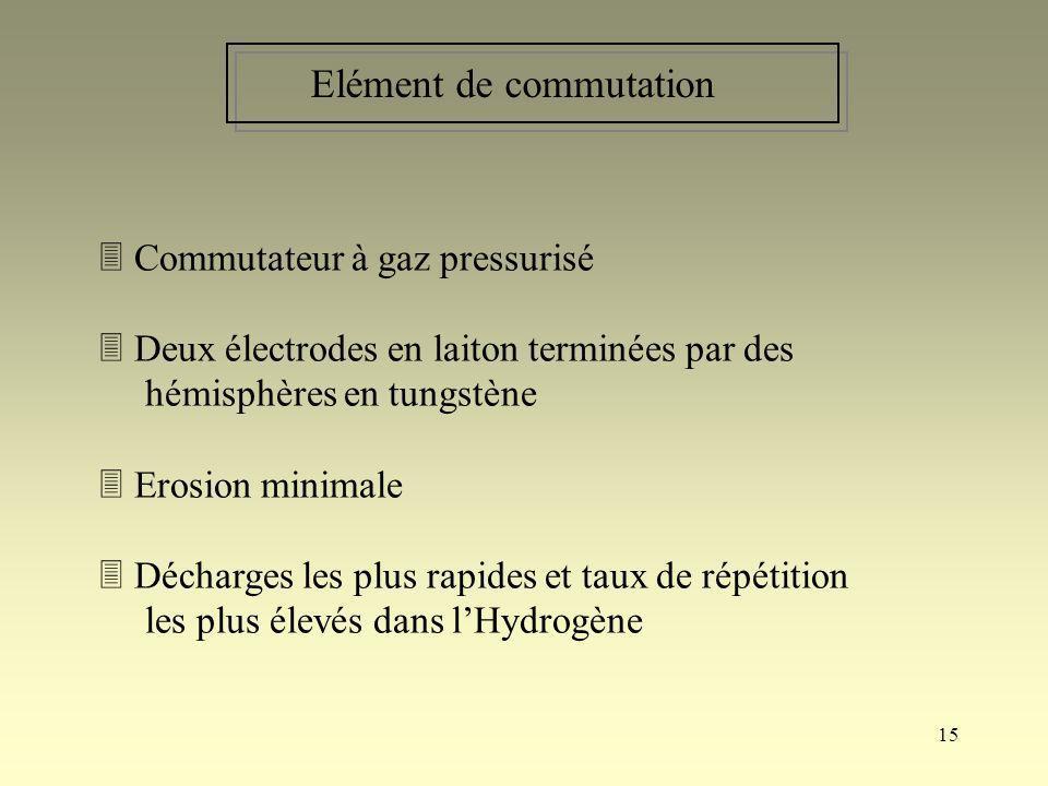15 Elément de commutation Commutateur à gaz pressurisé Deux électrodes en laiton terminées par des hémisphères en tungstène Erosion minimale Décharges