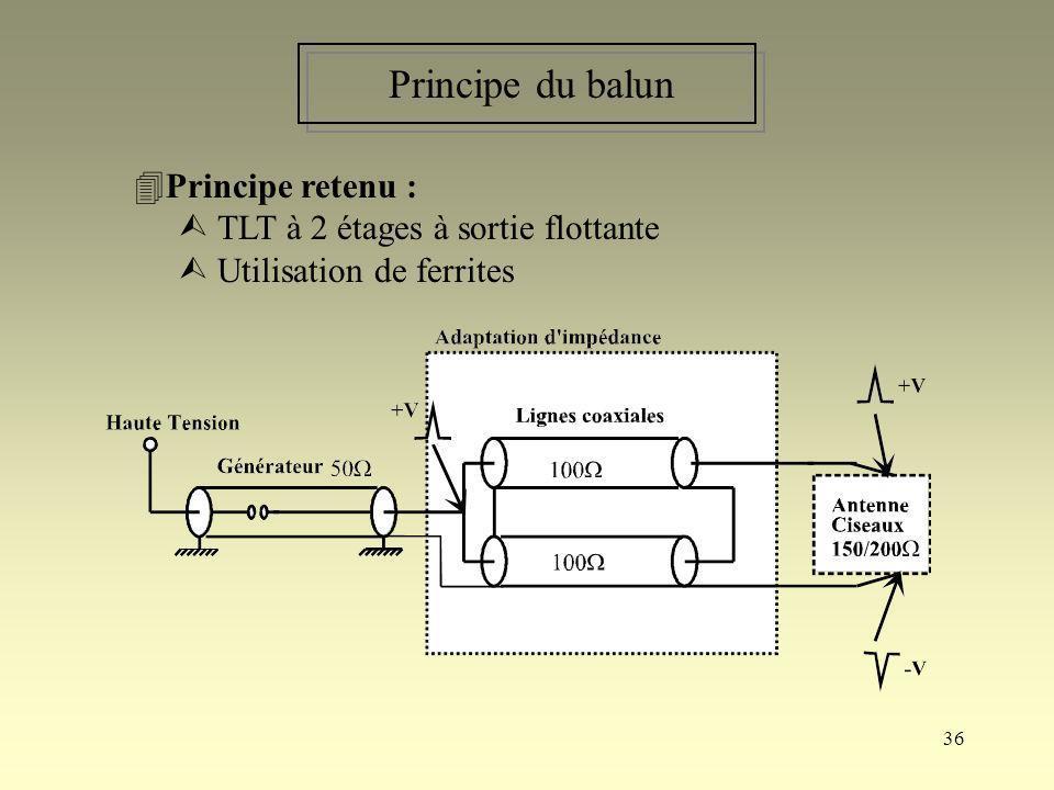36 Principe du balun Principe retenu : TLT à 2 étages à sortie flottante Utilisation de ferrites