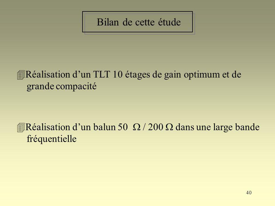 40 Bilan de cette étude Réalisation dun TLT 10 étages de gain optimum et de grande compacité Réalisation dun balun 50 / 200 dans une large bande fréqu