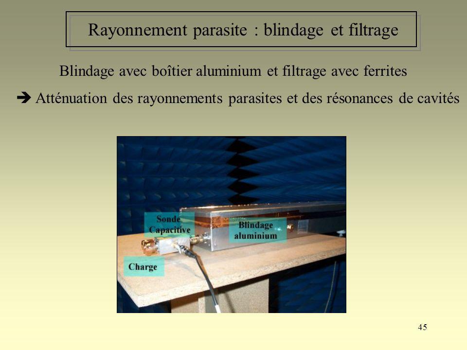 45 Rayonnement parasite : blindage et filtrage Blindage avec boîtier aluminium et filtrage avec ferrites Atténuation des rayonnements parasites et des