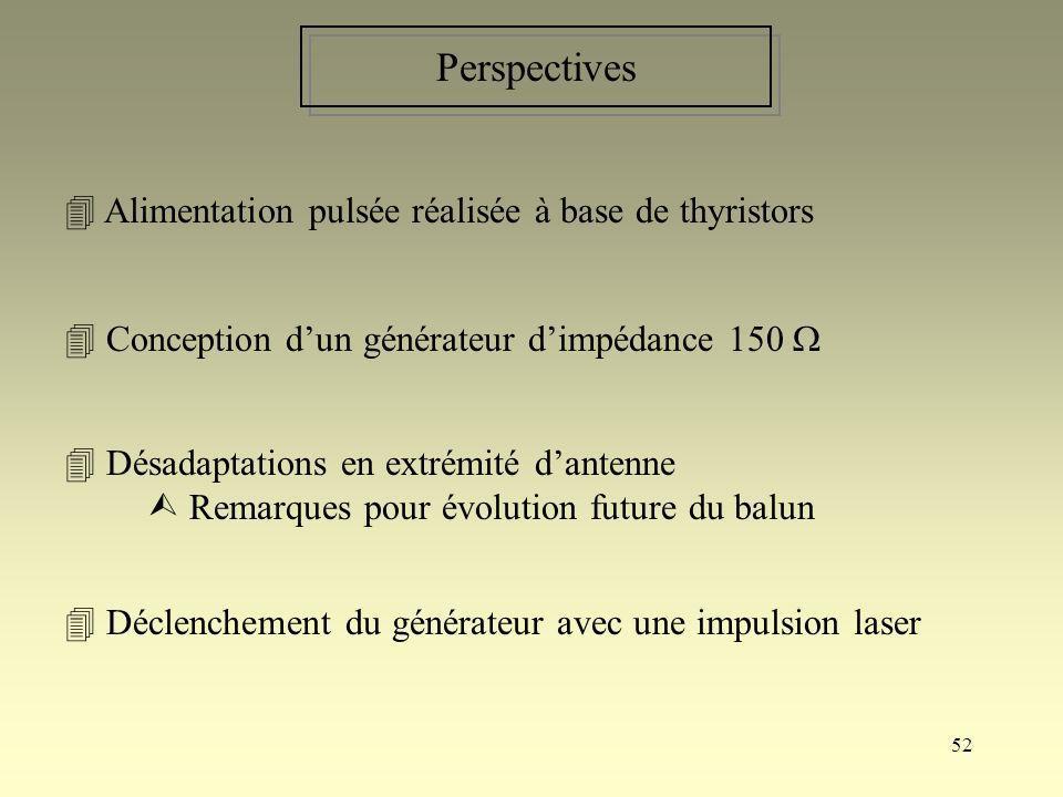 52 Perspectives Alimentation pulsée réalisée à base de thyristors Déclenchement du générateur avec une impulsion laser Désadaptations en extrémité dan