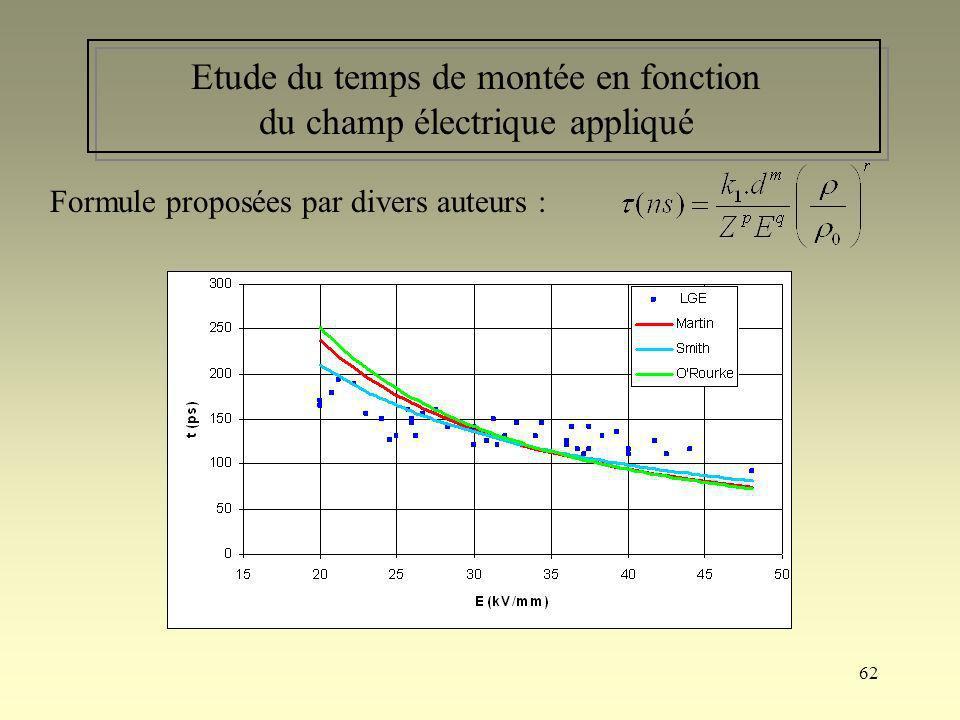 62 Etude du temps de montée en fonction du champ électrique appliqué Formule proposées par divers auteurs :