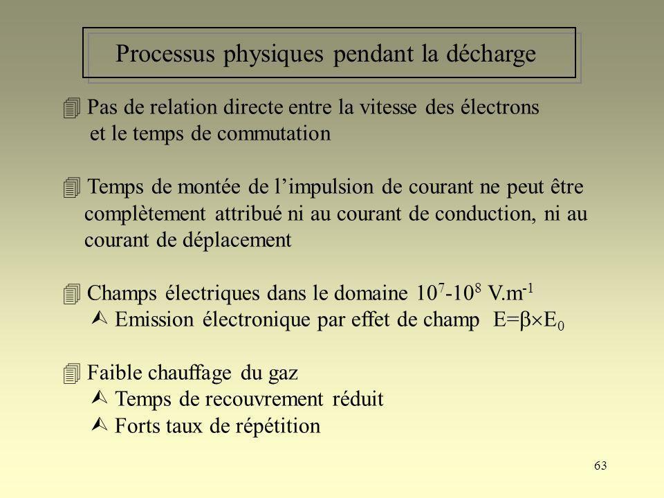 63 Processus physiques pendant la décharge Pas de relation directe entre la vitesse des électrons et le temps de commutation Temps de montée de limpul