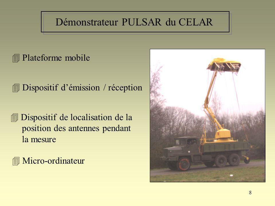 8 Démonstrateur PULSAR du CELAR Plateforme mobile Dispositif démission / réception Dispositif de localisation de la position des antennes pendant la m