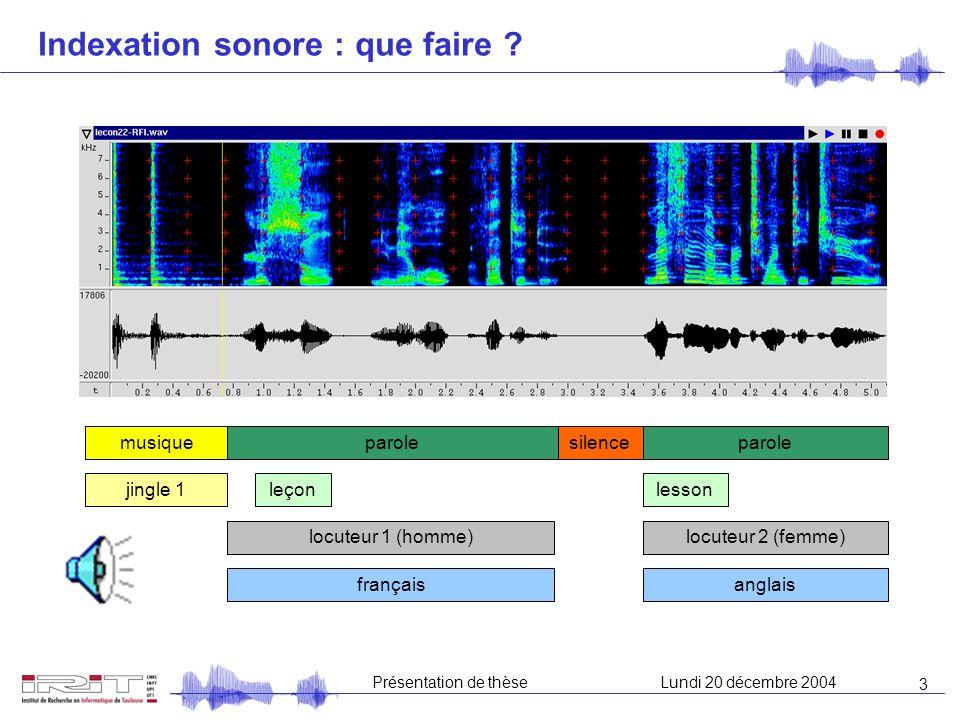 3 Présentation de thèseLundi 20 décembre 2004 Indexation sonore : que faire .