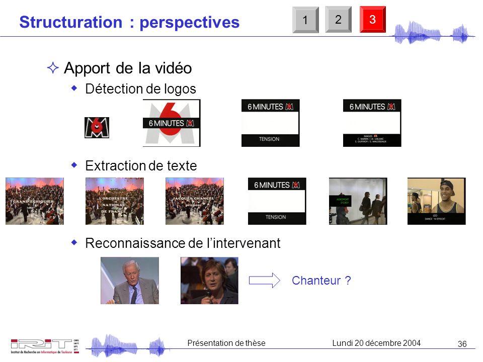35 Présentation de thèseLundi 20 décembre 2004 Structuration sonore Structuration dun journal télévisé (« 6 minutes » de M6) Détection de jingles (J e