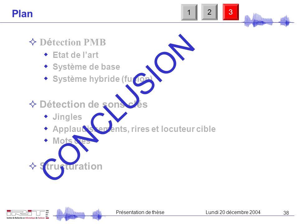 37 Présentation de thèseLundi 20 décembre 2004 Structuration : perspectives Macrosegmentation automatique (exemple du motif) Annotations automatiques