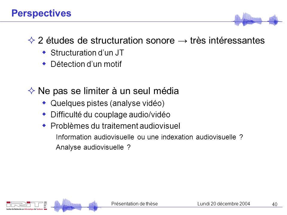 39 Présentation de thèseLundi 20 décembre 2004 Conclusion Indexation sonore : étude de composantes primaires « Unités communes » Parole et musique : r