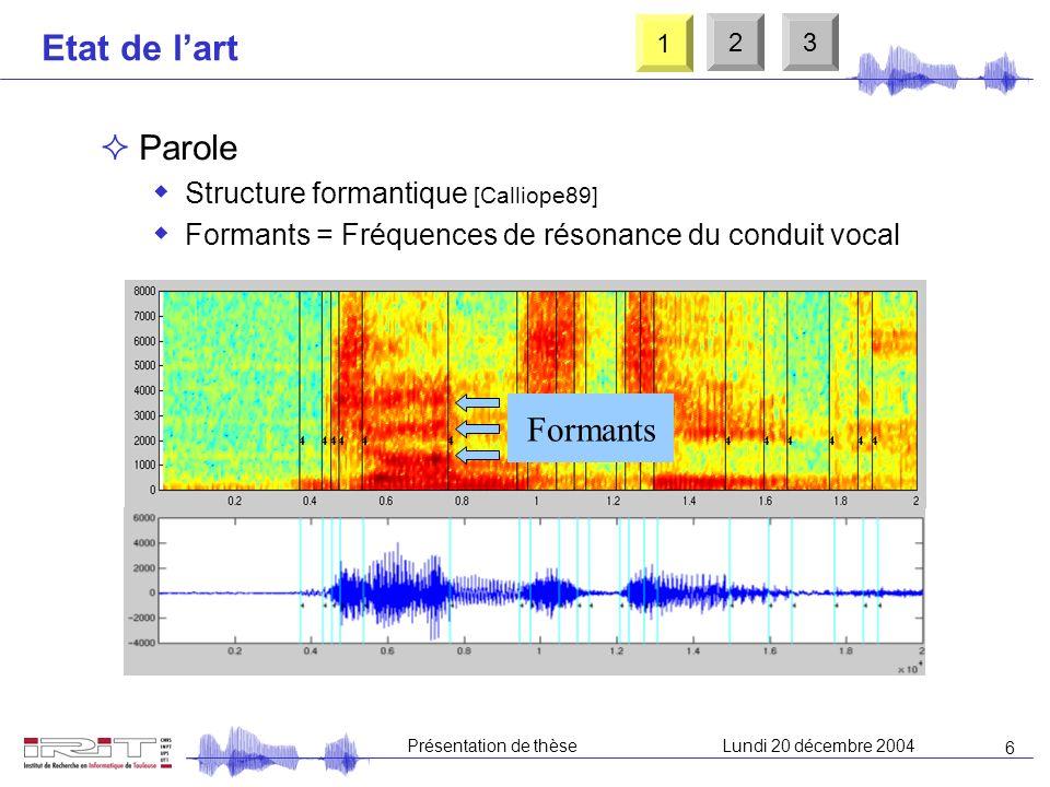 6 Présentation de thèseLundi 20 décembre 2004 Etat de lart Parole Structure formantique [Calliope89] Formants = Fréquences de résonance du conduit vocal Formants 1 23