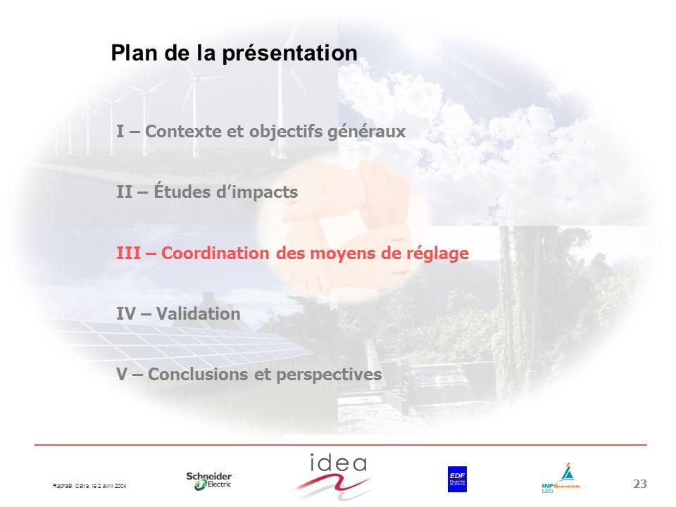 Raphaël Caire, le 2 avril 2004 23 Plan de la présentation I – Contexte et objectifs généraux II – Études dimpacts III – Coordination des moyens de rég