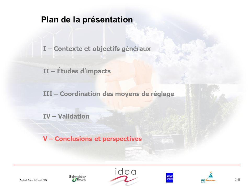 Raphaël Caire, le 2 avril 2004 58 Plan de la présentation I – Contexte et objectifs généraux II – Études dimpacts III – Coordination des moyens de rég