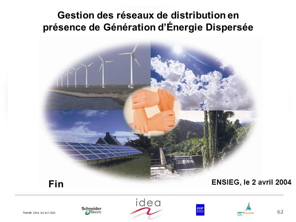 Raphaël Caire, le 2 avril 2004 62 Gestion des réseaux de distribution en présence de Génération dÉnergie Dispersée ENSIEG, le 2 avril 2004 Fin