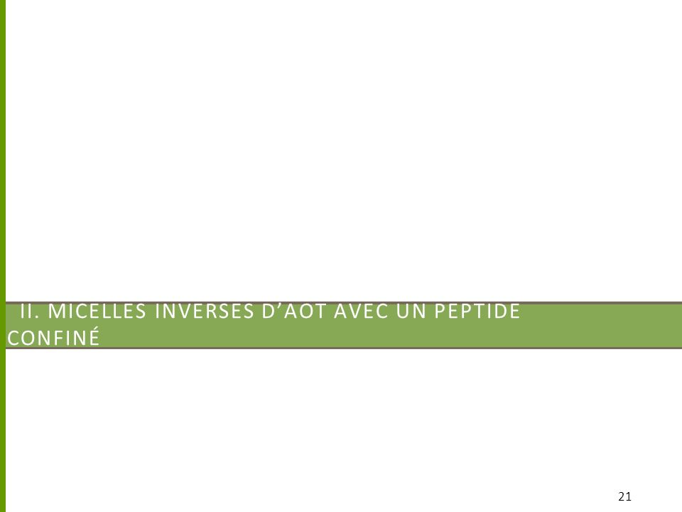 II. MICELLES INVERSES DAOT AVEC UN PEPTIDE CONFINÉ 21