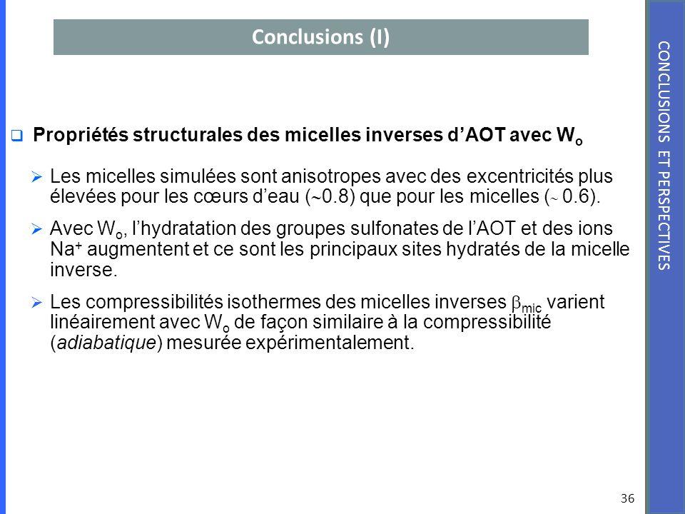 Conclusions (I) 36 CONCLUSIONS ET PERSPECTIVES Propriétés structurales des micelles inverses dAOT avec W o Les micelles simulées sont anisotropes avec