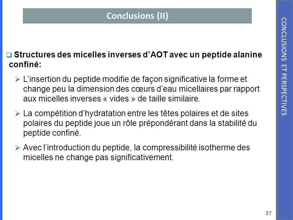 Conclusions (II) 37 CONCLUSIONS ET PERSPECTIVES Structures des micelles inverses dAOT avec un peptide alanine confiné: Linsertion du peptide modifie d