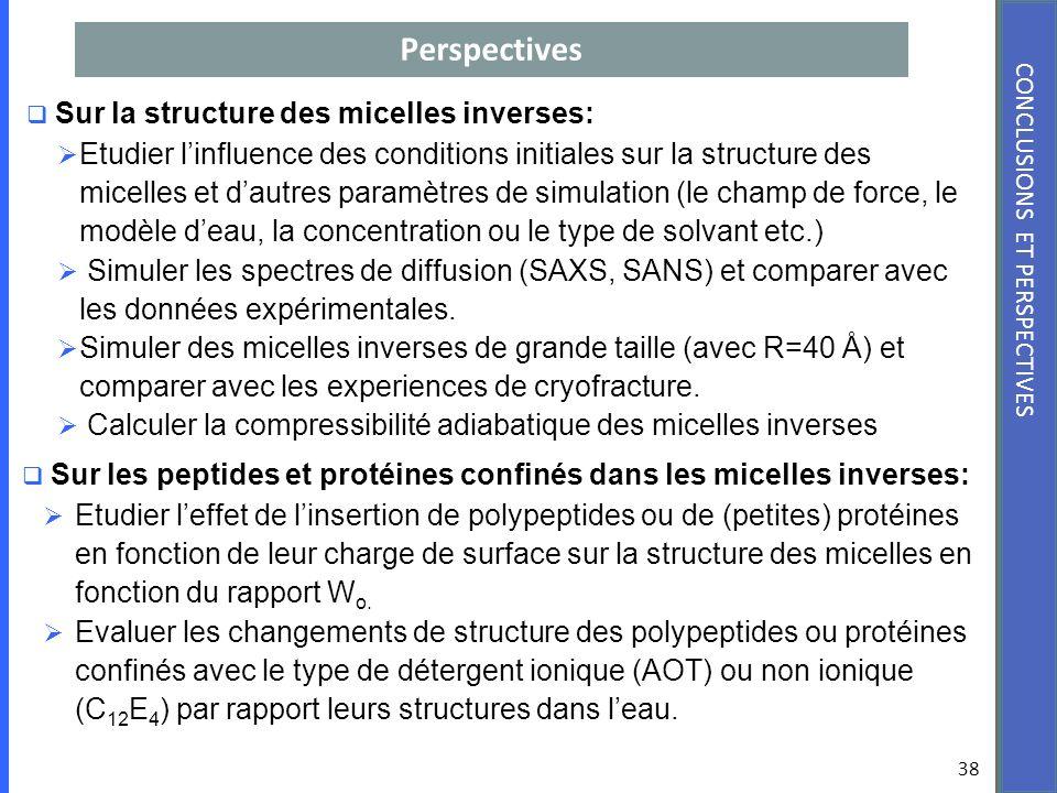 Perspectives 38 CONCLUSIONS ET PERSPECTIVES Sur la structure des micelles inverses: Etudier linfluence des conditions initiales sur la structure des m
