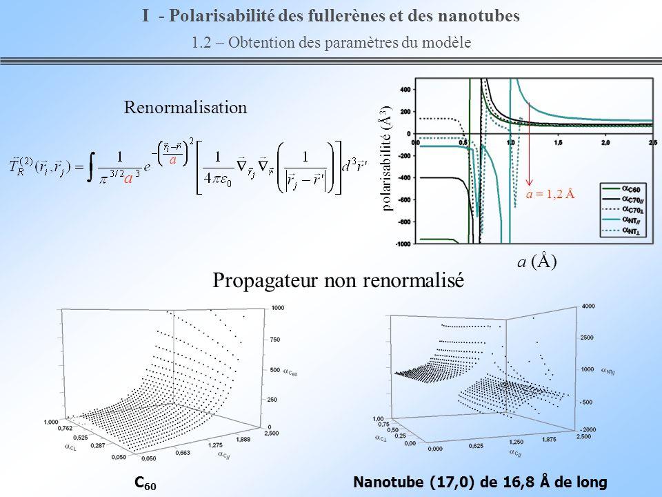 a (Å) polarisabilité (Å 3 ) Nanotube (17,0) de 16,8 Å de longC 60 Propagateur non renormalisé Renormalisation a a a = 1,2 Å I - Polarisabilité des ful