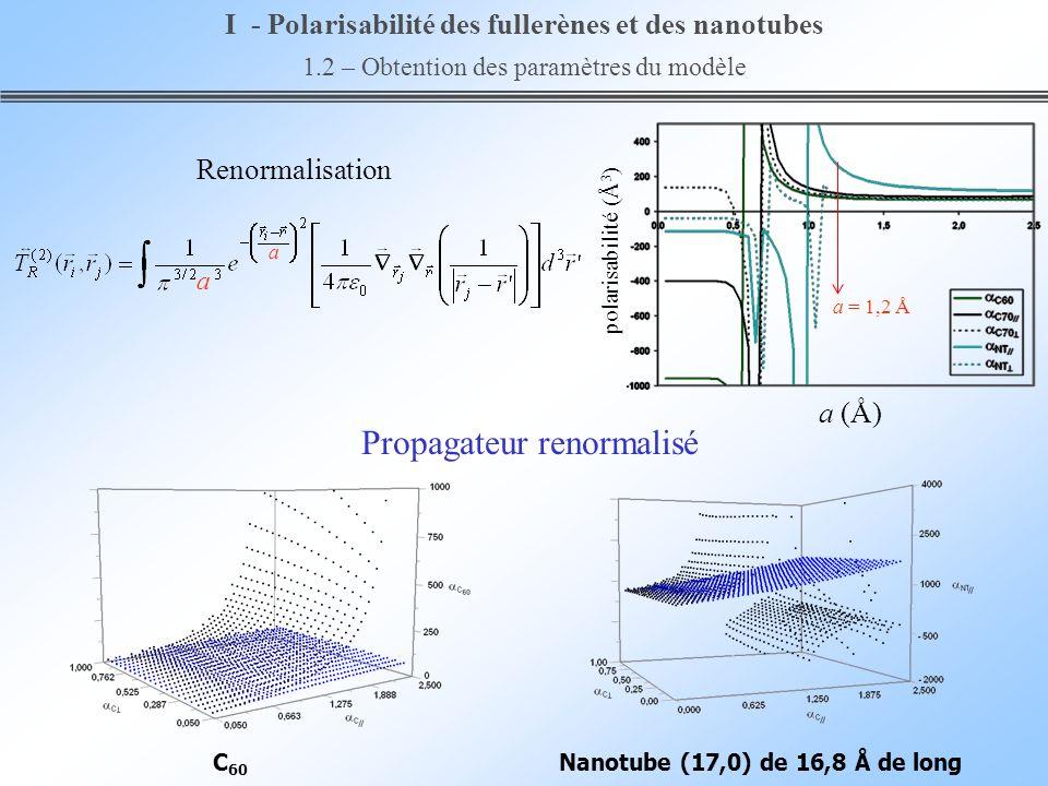 a (Å) polarisabilité (Å 3 ) Nanotube (17,0) de 16,8 Å de longC 60 Propagateur renormalisé Renormalisation a = 1,2 Å a a I - Polarisabilité des fullerè