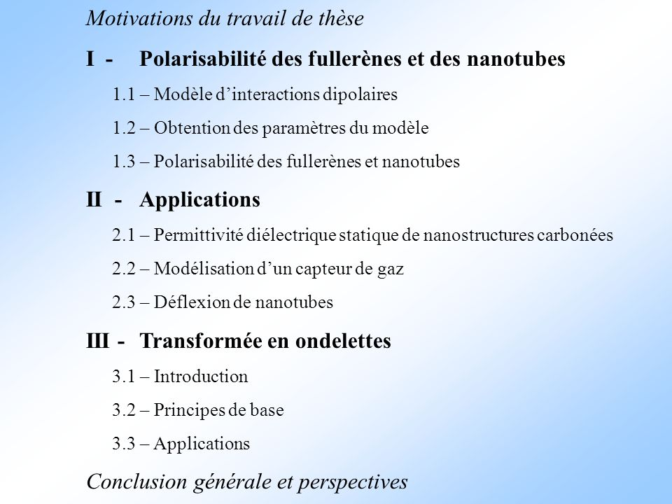 Motivations du travail de thèse I -Polarisabilité des fullerènes et des nanotubes 1.1 – Modèle dinteractions dipolaires 1.2 – Obtention des paramètres