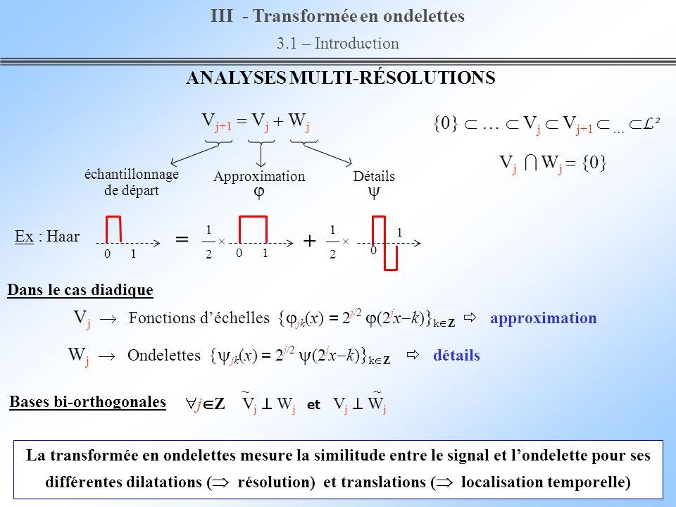 III - Transformée en ondelettes 3.1 – Introduction La transformée en ondelettes mesure la similitude entre le signal et londelette pour ses différente