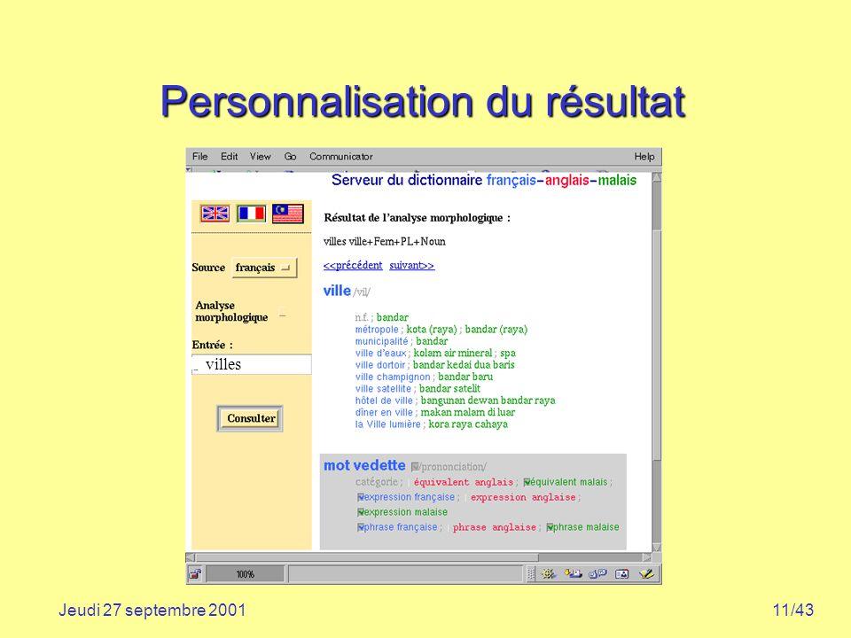 11/43Jeudi 27 septembre 2001 Personnalisation du résultat villes