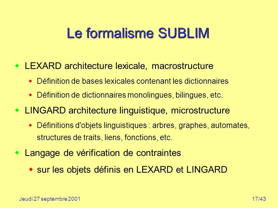 17/43Jeudi 27 septembre 2001 Le formalisme SUBLIM LEXARD architecture lexicale, macrostructure Définition de bases lexicales contenant les dictionnair