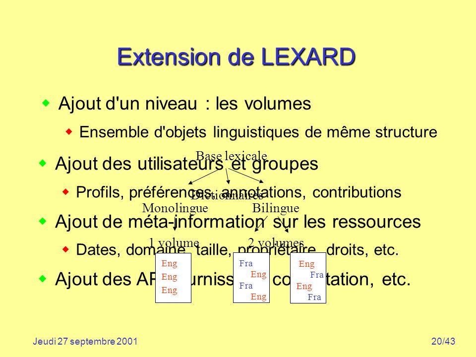 20/43Jeudi 27 septembre 2001 Extension de LEXARD Ajout d'un niveau : les volumes Ensemble d'objets linguistiques de même structure Ajout des utilisate