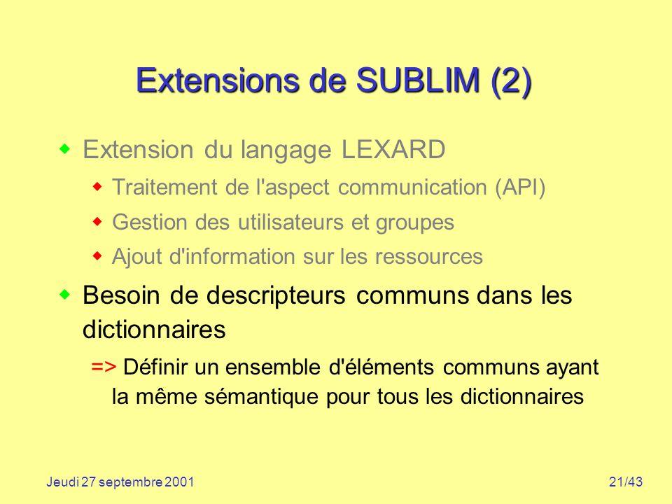 21/43Jeudi 27 septembre 2001 Extensions de SUBLIM (2) Extension du langage LEXARD Traitement de l'aspect communication (API) Gestion des utilisateurs