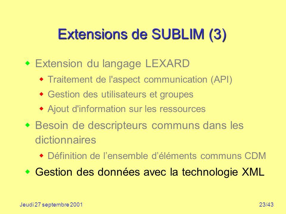 23/43Jeudi 27 septembre 2001 Extensions de SUBLIM (3) Extension du langage LEXARD Traitement de l'aspect communication (API) Gestion des utilisateurs