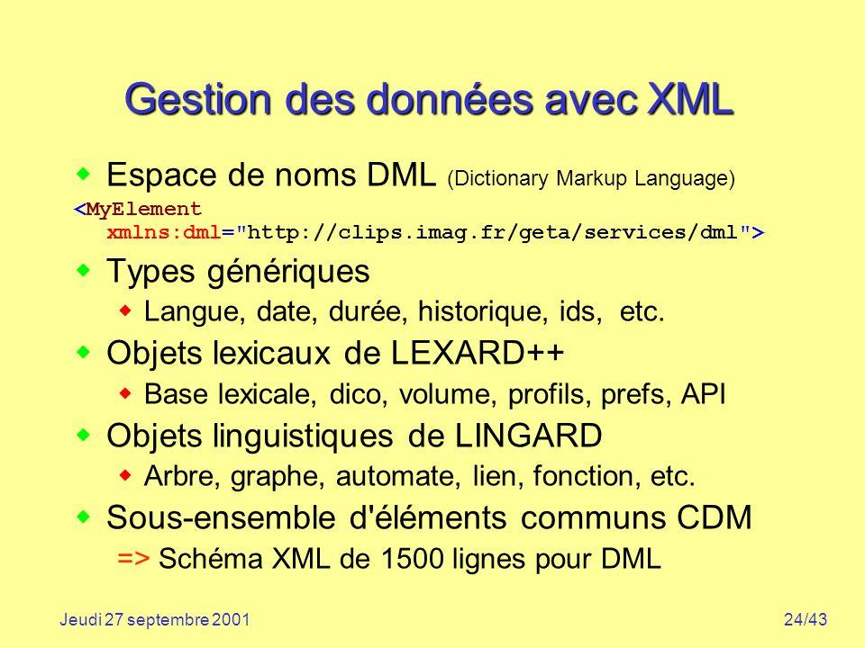 24/43Jeudi 27 septembre 2001 Gestion des données avec XML Espace de noms DML (Dictionary Markup Language) Types génériques Langue, date, durée, histor