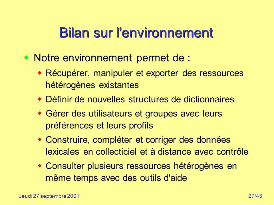 27/43Jeudi 27 septembre 2001 Bilan sur l'environnement Notre environnement permet de : Récupérer, manipuler et exporter des ressources hétérogènes exi