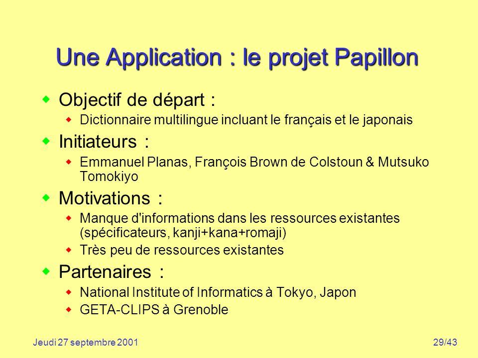 29/43Jeudi 27 septembre 2001 Une Application : le projet Papillon Objectif de départ : Dictionnaire multilingue incluant le français et le japonais In