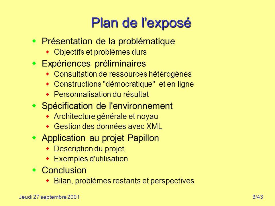 3/43Jeudi 27 septembre 2001 Plan de l'exposé Présentation de la problématique Objectifs et problèmes durs Expériences préliminaires Consultation de re