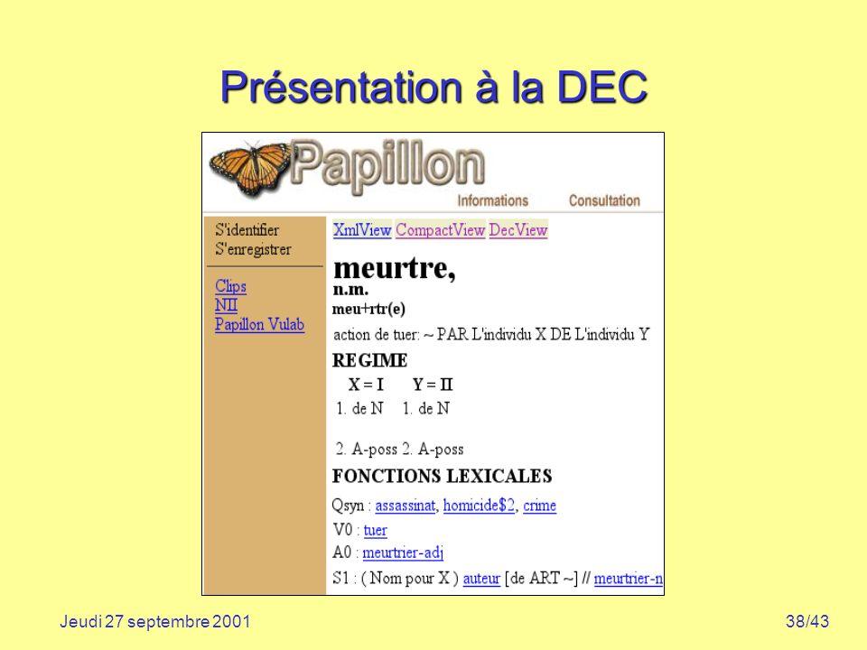 38/43Jeudi 27 septembre 2001 Présentation à la DEC